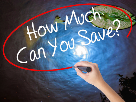 mortgaging: Woman Hand Writing How Much Can You Save? with marker over transparent board. Isolated on nature. Business concept. Stock Photo Stock Photo