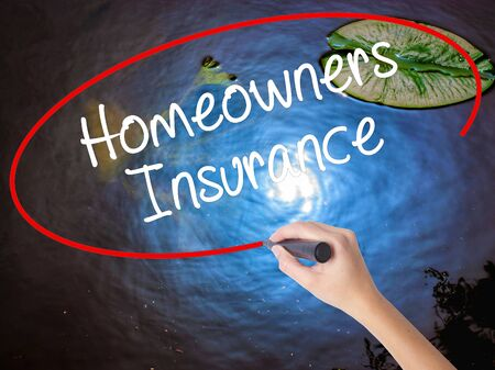 homeowners: Woman Hand Writing Homeowners Insurance with marker over transparent board. Isolated on nature. Business concept. Stock Photo
