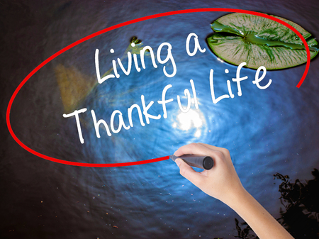humility: Woman Hand Writing Living a Thankful Life with marker over transparent board. Isolated on nature. Business, technology, internet concept.