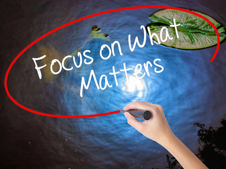 objectivism: Woman Hand Writing Focus on What Matters with marker over transparent board. Isolated on nature. Business concept. Stock Photo Stock Photo