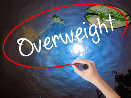 Woman Hand Writing Overweight  with marker over transparent board. Isolated on nature. Business concept. Stock Photo