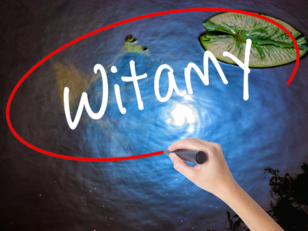 hi back: Woman Hand Writing Witamy (Welcome in Polish) with marker over transparent board. Isolated on nature. Business concept. Stock Photo