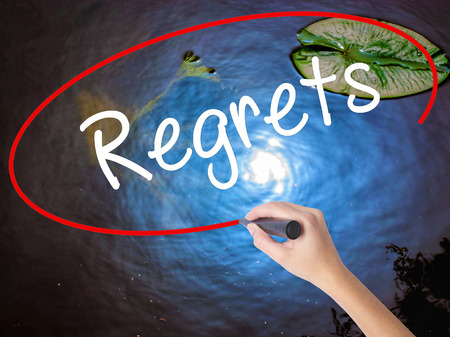 Woman Hand Writing  Regrets with marker over transparent board. Isolated on nature. Business concept. Stock Photo