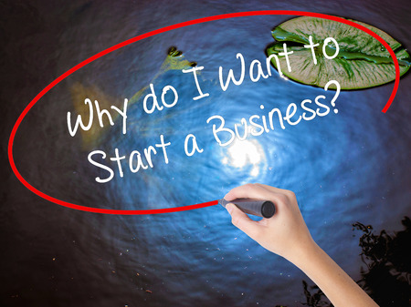 sucessful: Woman Hand Writing Why do I Want to Start a Business? with marker over transparent board. Isolated on nature. Business concept. Stock Photo