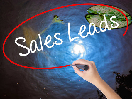 Woman Hand Writing Sales Leads with marker over transparent board. Isolated on nature. Business concept. Stock Photo