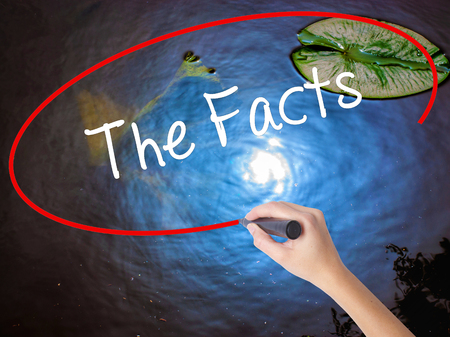fib: Woman Hand Writing The Facts  with marker over transparent board. Isolated on nature. Business concept. Stock Photo Stock Photo