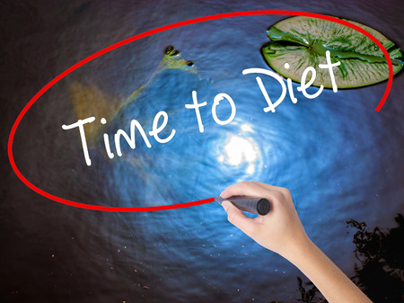 Woman Hand Writing Time to Diet with marker over transparent board. Isolated on nature. Business, technology, internet concept.
