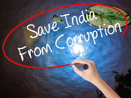 bannister: Woman Hand Writing Save India From Corruption with marker over transparent board. Isolated on nature. Business concept. Stock Photo Stock Photo