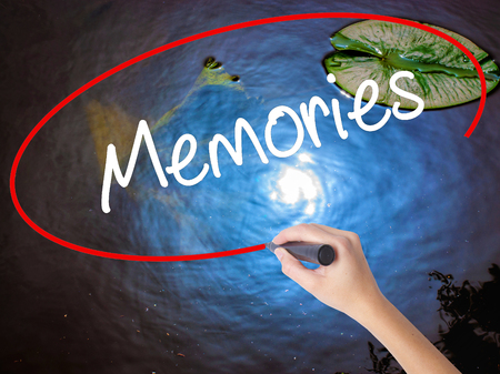 bonne aventure: Woman Hand Writing Memories with marker over transparent board. Isolated on nature. Business, technology, internet concept.