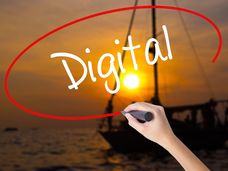 marketers: Woman Hand Writing Digital with a marker over transparent board. Isolated on Sunset Boat. Business concept. Stock Photo Stock Photo