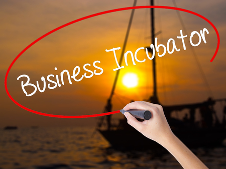 incubation: Woman Hand Writing Business Incubator with a marker over transparent board. Isolated on Sunset Boat. Business concept. Stock Photo