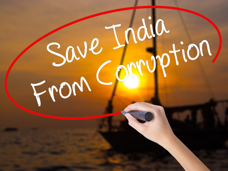 marchers: Woman Hand Writing Save India From Corruption with a marker over transparent board. Isolated on Sunset Boat. Business concept. Stock Photo Stock Photo