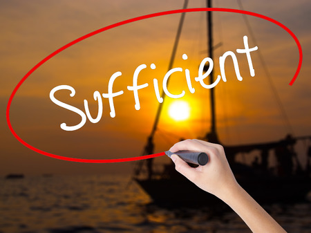 insufficient: Woman Hand Writing Sufficient with a marker over transparent board. Isolated on Sunset Boat. Business concept. Stock Photo