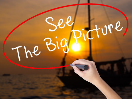 big picture: Woman Hand Writing See The Big Picture with a marker over transparent board. Isolated on Sunset Boat. Business, technology, internet concept. Stock Image