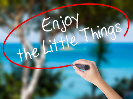 usefulness: Woman Hand Writing  Enjoy the Little Things with black marker on visual screen. Isolated on nature. Business concept. Stock Photo