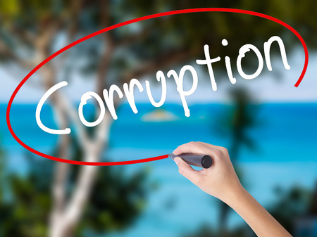 Woman Hand Writing Corruption with black marker on visual screen. Isolated on nature. Business concept. Stock Photo Stock Photo