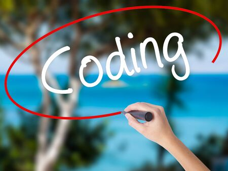 Woman Hand Writing Coding with black marker on visual screen. Isolated on nature. Business concept. Stock Photo