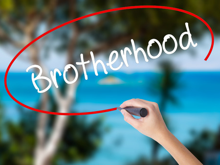 Woman Hand Writing  Brotherhood  with black marker on visual screen. Isolated on nature. Business concept. Stock Photo Stock Photo