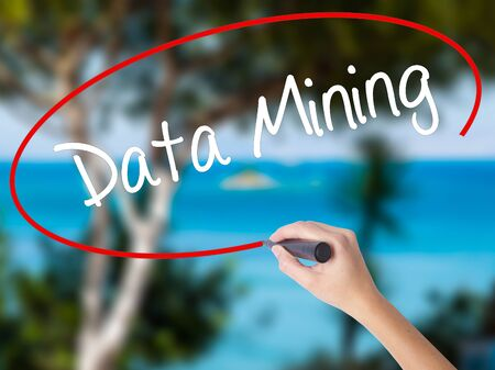 Woman Hand Writing  Data Mining with black marker on visual screen. Isolated on nature. Business concept. Stock Photo