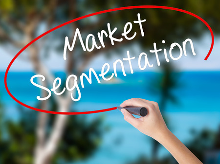 categorize: Woman Hand Writing Market Segmentation with black marker on visual screen. Isolated on nature. Business concept. Stock Photo Stock Photo