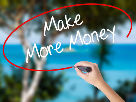 Woman Hand Writing Make Money Money  with black marker on visual screen. Isolated on nature. Business concept. Stock Photo Stock Photo