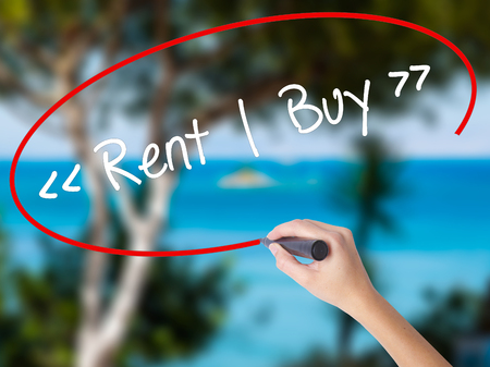 Woman Hand Writing Rent - Buy  with black marker on visual screen. Isolated on nature. Business concept. Stock Photo