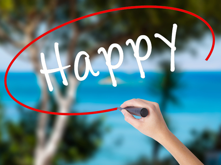 Woman Hand Writing Happy black marker on visual screen. Isolated on nature. Business concept. Stock Photo