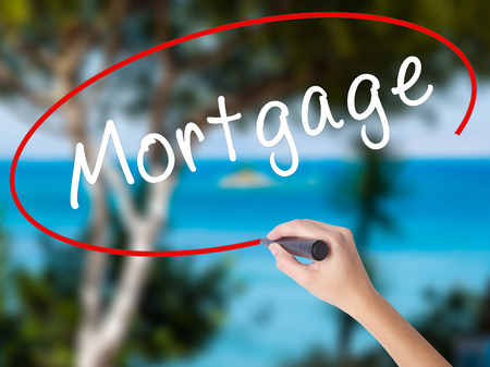 Woman Hand Writing Mortgage with black marker on visual screen. Isolated on nature. Business concept. Stock Photo Stock Photo