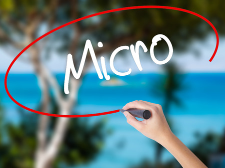 Woman Hand Writing Micro with black marker on visual screen. Isolated on nature. Business concept. Stock Photo Stock Photo