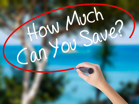 budgetary: Woman Hand Writing How Much Can You Save? with black marker on visual screen. Isolated on nature. Business concept. Stock Photo Stock Photo