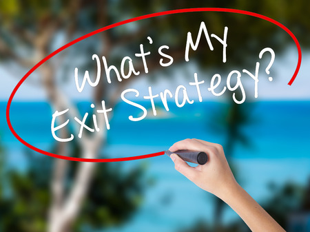 Woman Hand Writing Whats My Exit Strategy? with black marker on visual screen. Isolated on nature. Business concept. Stock Photo