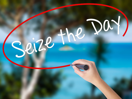 Woman Hand Writing Seize the Day with black marker on visual screen. Isolated on nature. Business concept. Stock Photo Stock Photo