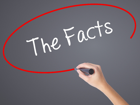 fib: Woman Hand Writing The Facts  with black marker on visual screen. Isolated on grey. Business concept. Stock Photo