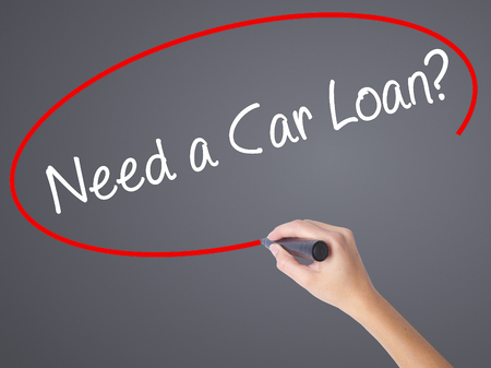 buying questions: Woman Hand Writing Need a Car Loan? with black marker on visual screen. Isolated on grey. Business concept. Stock Photo