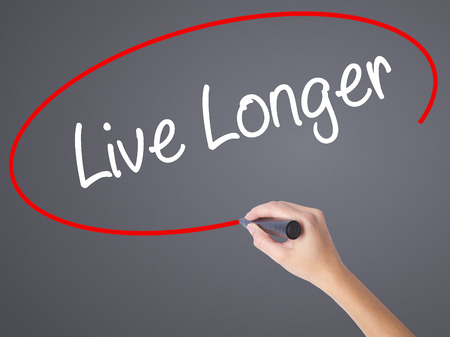 longevity medicine: Woman Hand Writing Live Longer with black marker on visual screen. Isolated on grey. Business concept. Stock Photo