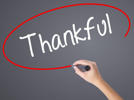 obliged: Woman Hand Writing Thankful  with black marker on visual screen. Isolated on grey. Business concept. Stock Photo Stock Photo