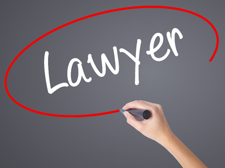 lawer: Woman Hand Writing Lawyer with black marker on visual screen. Isolated on grey. Business concept. Stock Photo Stock Photo