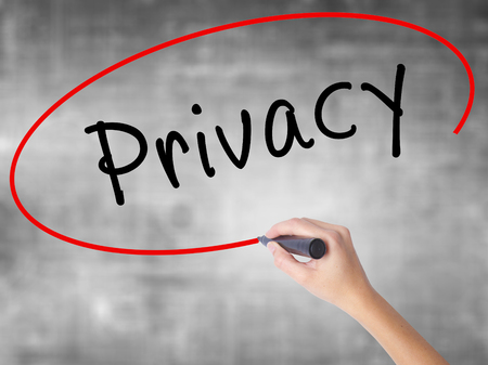 Man Hand writing Privacy with black marker on visual screen. Isolated on white. Business, technology, internet concept. Stock Image Stock Photo