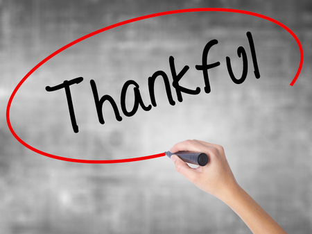 obliged: Woman Hand Writing Thankful  with black marker over transparent board. Isolated on grey. Business concept. Stock Photo