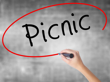 picknick: Woman Hand Writing Picnic with black marker over transparent board. Isolated on grey. Business concept. Stock Photo