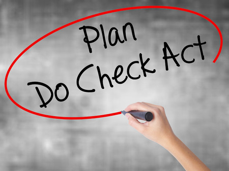 plan do check act: Woman Hand Writing Plan Do Check Act  with black marker over transparent board. Isolated on grey. Business concept. Stock Photo Stock Photo