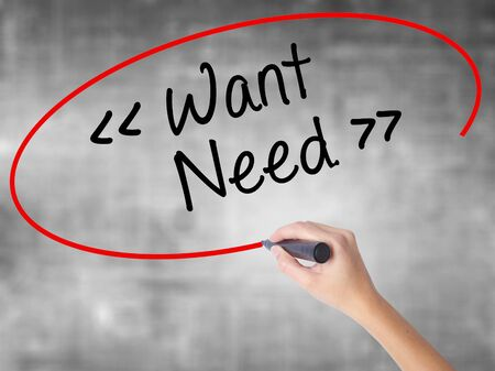 the requirement: Man Hand writing Want - Need  with black marker on visual screen. Isolated on background. Business, technology, internet concept. Stock Photo
