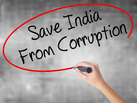 bannister: Woman Hand Writing Save India From Corruption with black marker over transparent board. Isolated on grey. Business concept. Stock Photo Stock Photo