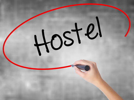 guides: Woman Hand Writing Hostel with black marker over transparent board. Isolated on grey. Business concept. Stock Photo Stock Photo