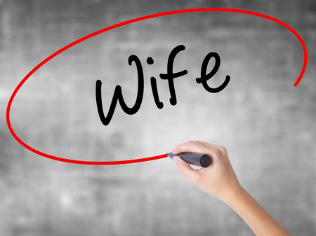 Man Hand writing Wife with black marker on visual screen. Isolated on background. Business, technology, internet concept. Stock Photo