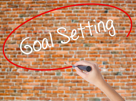 Woman Hand Writing Goal Setting  with black marker on visual screen. Isolated on bricks. Business concept. Stock Photo