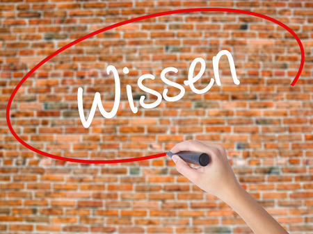 Woman Hand Writing Wissen (Know in German)  with black marker on visual screen. Isolated on bricks. Business concept. Stock Photo