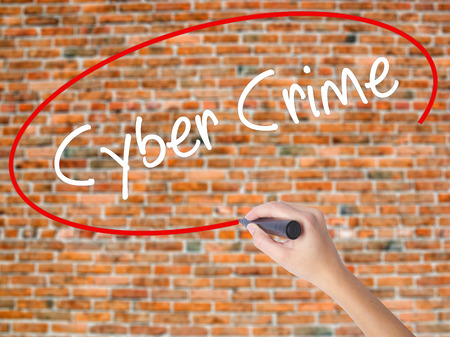 up code: Woman Hand Writing Cyber Crime with black marker on visual screen. Isolated on bricks. Business concept. Stock Photo
