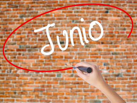 Woman Hand Writing Junio (June in Spanish)   with black marker on visual screen. Isolated on bricks. Business concept. Stock Photo