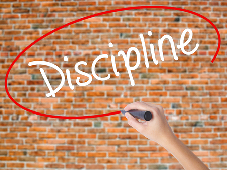 Woman Hand Writing Discipline with black marker on visual screen. Isolated on bricks. Business concept. Stock Photo